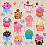 färgrika muffiner stock illustrationer