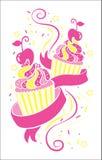 Färgrika muffinsymboler Arkivbild