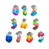 Färgrika multilayer nummer i isometriskt royaltyfri illustrationer