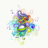 färgrika musikanmärkningar Arkivbild