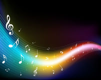 färgrika musikanmärkningar Royaltyfri Foto