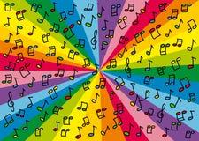 färgrika musikanmärkningar för bakgrund Royaltyfri Bild