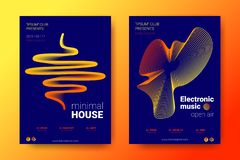 Färgrika musikplakat med våg förvridna rundor stock illustrationer