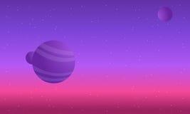 Färgrika natthimlar med planetutrymme vektor illustrationer