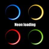 Färgrika neoncirklar för att ladda data Royaltyfri Bild