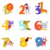 Färgrika nummer från 1 till 9 och djur Tecknad filmlejon, sebra, giraff, flodhäst, krokodil, elefant, apa stock illustrationer