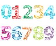 Färgrika nummer med illustrationen för fingeravtryckmodellvektor Arkivbilder