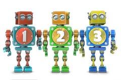 Färgrika 123 nummer på tappningrobotar isolerat Innehåller den snabba banan royaltyfri illustrationer