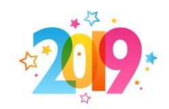 2019 färgrika nummerbaner stock illustrationer
