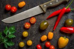 Färgrika nya grönsaker med en kniv Arkivfoton