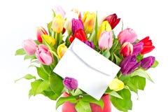 färgrika nya tulpan för bukett Royaltyfri Foto