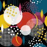 Färgrika och roliga sömlösa många modell i stora prickar Fyll I royaltyfri illustrationer