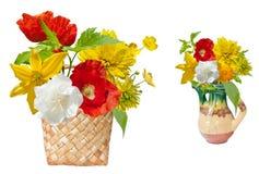 Färgrika olika blommor i korgen Arkivfoton