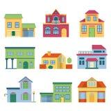 Färgrika olika hus med den moderna fasaden För vektorillustrationer för främre sikt uppsättning royaltyfri illustrationer