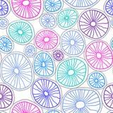 Färgrika organiska rundor Handdrawn abstrakt bakgrund med celler stock illustrationer
