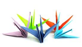 Färgrika origamifåglar Arkivbilder