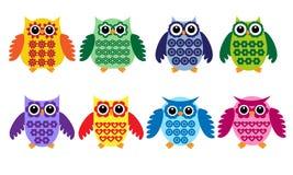 färgrika owls Royaltyfri Foto