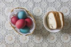 Färgrika påskägg i en korg och ett bröd Arkivbild