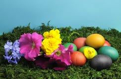 Färgrika påskägg med den gula fågelungen och nätt blommor Arkivfoton