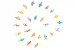 Färgrika paper fåglar Fotografering för Bildbyråer
