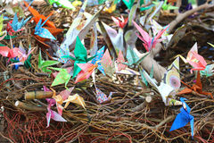 Färgrika paper fåglar Arkivfoto