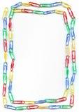 färgrika paperclips för kant Royaltyfri Fotografi