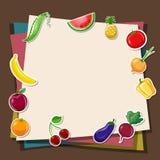 Färgrika pappers- och frukt- & grönsakklistermärkear Royaltyfria Foton