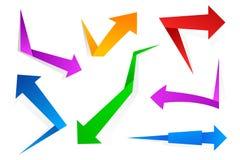Färgrika pappers- pilar Vektor Illustrationer