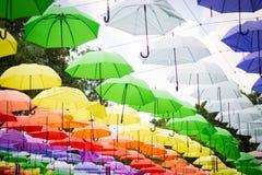 färgrika paraplyer arkivbilder