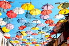 färgrika paraplyer Royaltyfria Bilder