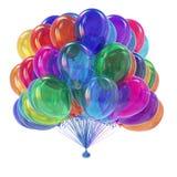Färgrika partiballonger samlar ihop glansigt födelsedag årsdagsymbol Arkivfoto