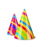 Färgrika partihattar för din ferie som isoleras på den vita backgrouen stock illustrationer