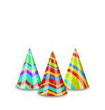 Färgrika partihattar för din ferie som isoleras på vit stock illustrationer