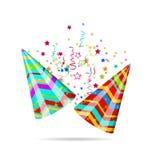 Färgrika partihattar med konfettier för din ferie vektor illustrationer