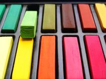 färgrika pastell för konstnärkrita Royaltyfri Foto