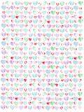 Färgrika pastellfärgade hjärtor för vattenfärgmodell Royaltyfri Fotografi