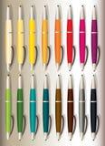 16 färgrika pennor med 16 olika färger stock illustrationer