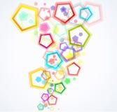 färgrika pentagons för bakgrund Royaltyfri Bild