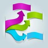Färgrika pilar för vektor 3d med etiketter för text Arkivbilder