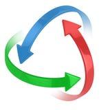 Färgrika pilar som 3d omkring cirklar 库存例证