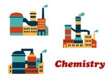 Färgrika plana byggnader av kemiska fabriker eller royaltyfri illustrationer