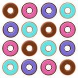 Färgrika plana Donuts Arkivfoton