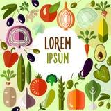 Färgrika plana grönsaker för organisk mat Royaltyfria Bilder
