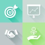 Färgrika plana symboler för framgång Arkivfoton