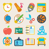 Färgrika plana symboler för skola Royaltyfri Bild