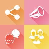 Färgrika plana symboler för socialt massmedia Arkivfoto