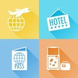 Färgrika plana symboler för tur Fotografering för Bildbyråer