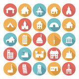 Färgrika plana symbolsdesigner - byggnader Royaltyfria Bilder