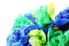 Färgrika plast- avskrädepåsar Arkivbilder