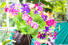 Färgrika plast- blommor i trävase arkivbild